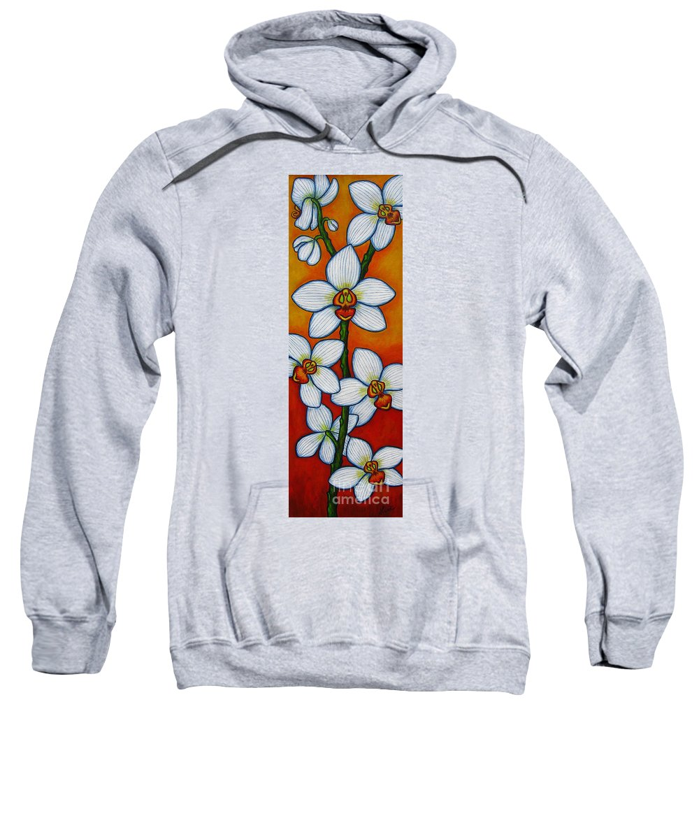 Orchids Sweatshirt featuring the painting Orchid Oasis by Lisa Lorenz