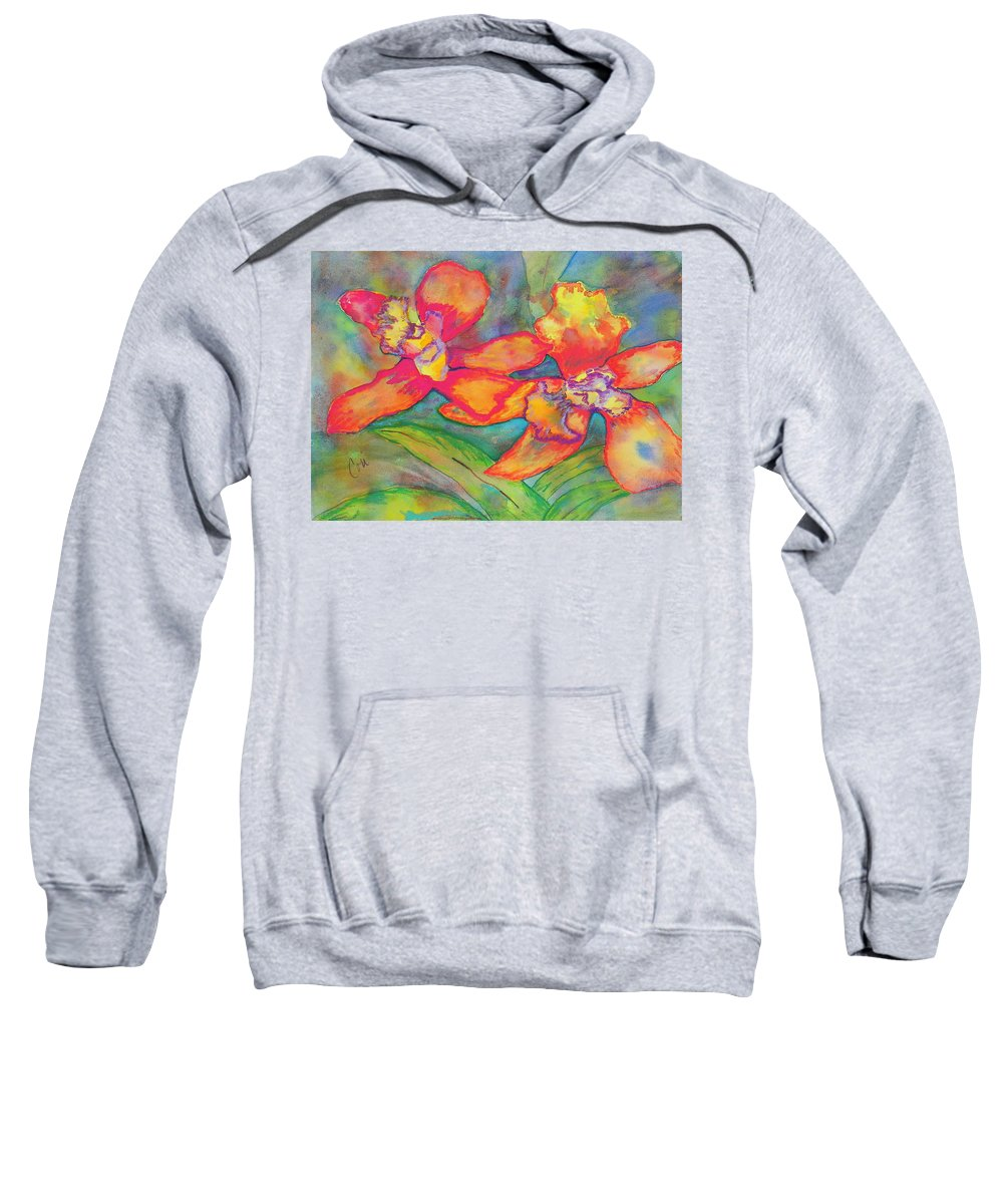Flowers Sweatshirt featuring the painting Orchids In Paradise by Cori Solomon