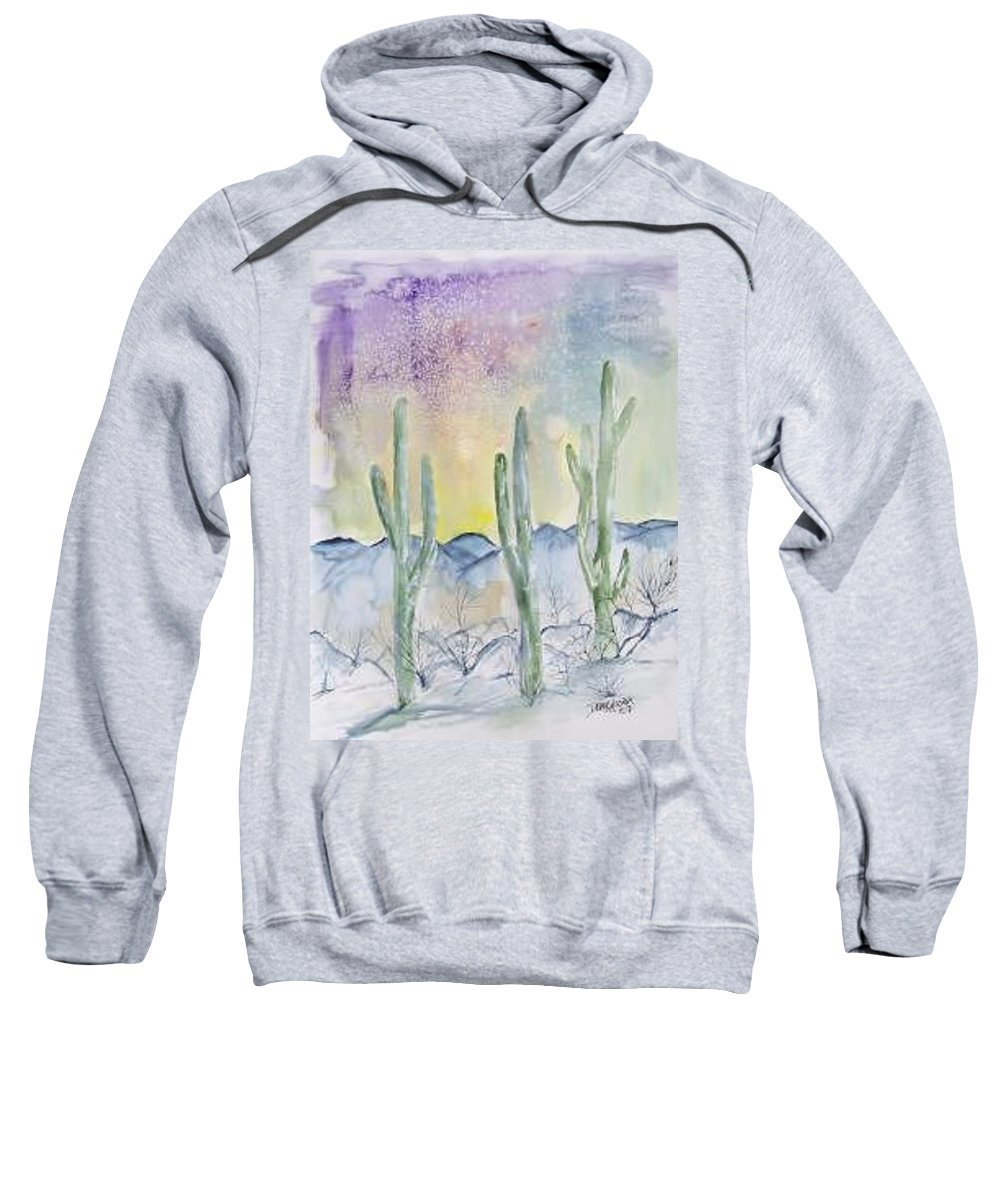Impressionistic Sweatshirt featuring the painting Organ Pipe Cactus desert southwestern painting poster print by Derek Mccrea