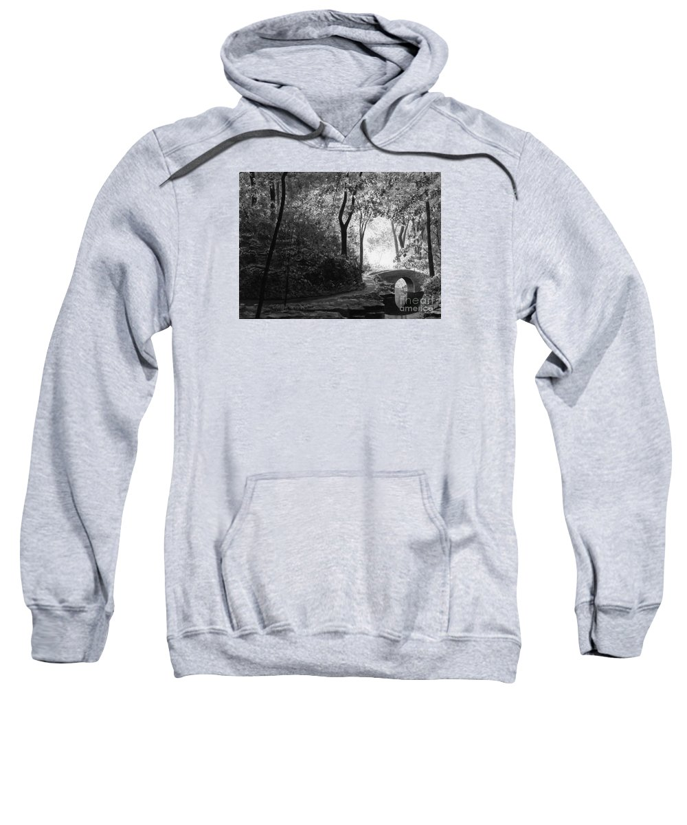 Black And White Sweatshirt featuring the painting Oriental Garden by Lynn Quinn
