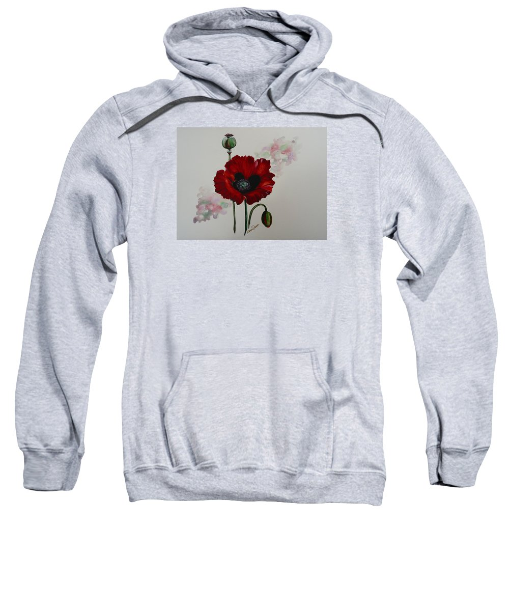 Floral Poppy Red Flower Sweatshirt featuring the painting Oriental Poppy by Karin Dawn Kelshall- Best