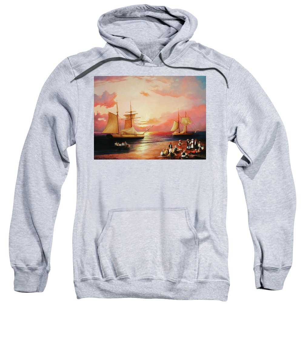 Sunset Sweatshirt featuring the painting Oriental Sailor Chiefs Gathered For A Meeting On The Shores Of The Black Sea by Zohrab Kemkemian
