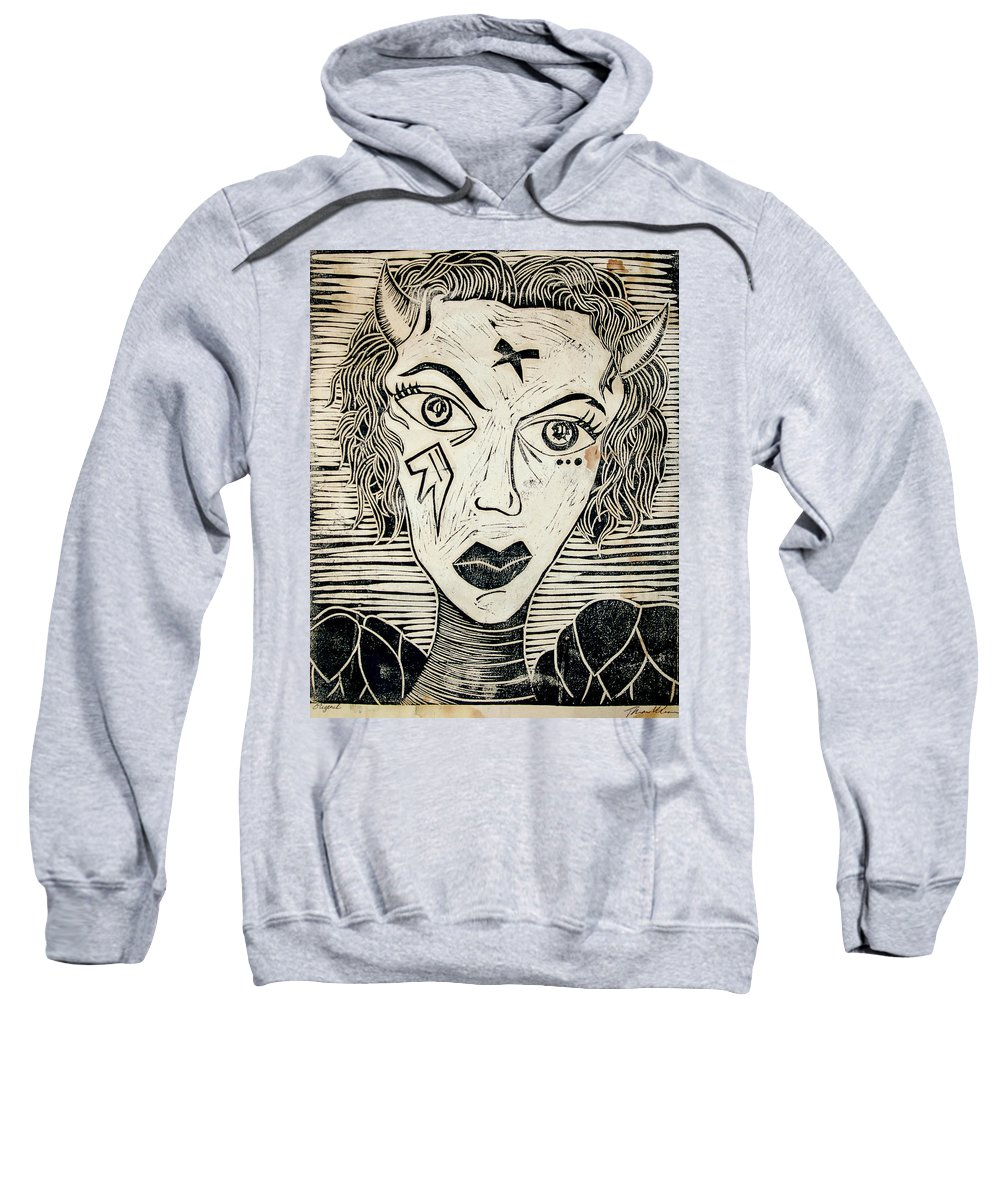 Block Print Sweatshirt featuring the print Original Devil Block Print by Thomas Valentine