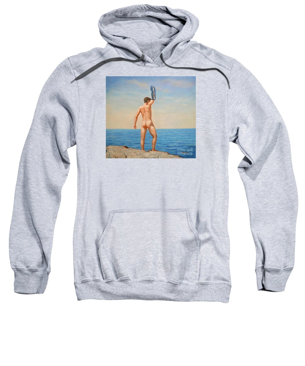 Original Art Sweatshirt featuring the painting Original Oil Painting Gay Art Male Nude By Body On Canvas#16-2-5-011 by Hongtao Huang