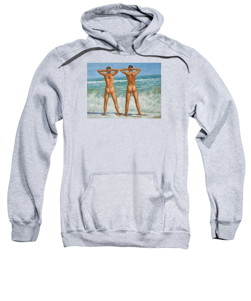 Original Art Sweatshirt featuring the painting Original Oil Painting Male Nude Gay Interest Art By Seasid On Canvas #16-2-5-0-10 by Hongtao   Huang