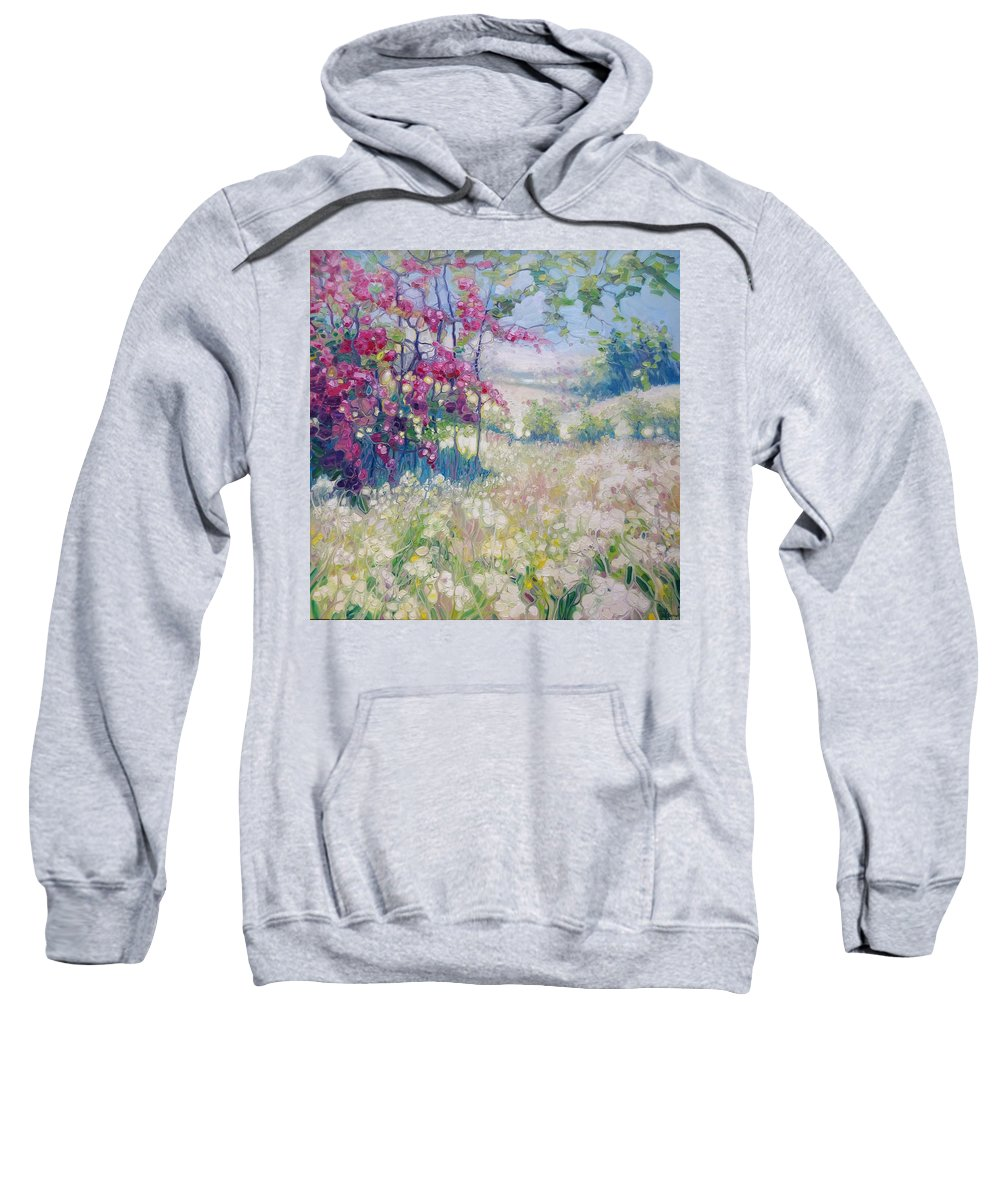 Blossom Trees Sweatshirt featuring the painting Original Oil Painting - Spring Meadow In Sussex by Gill Bustamante