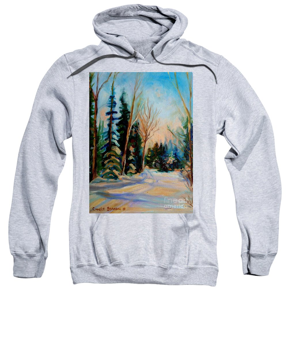 Ormstown Quebec Winter Road Sweatshirt featuring the painting Ormstown Quebec Winter Road by Carole Spandau