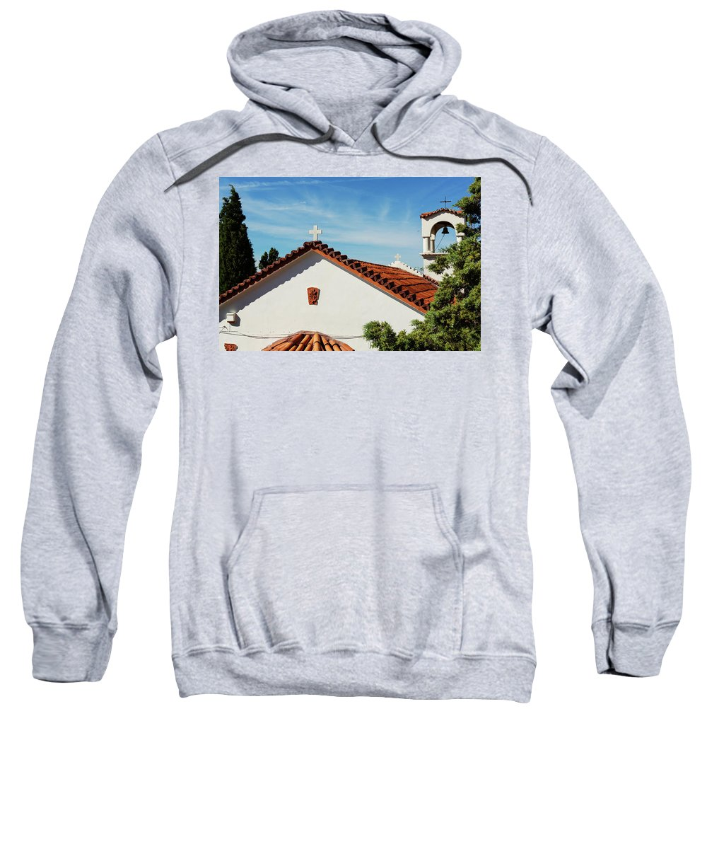 Greece Sweatshirt featuring the photograph Orthodox Church In Loutraki, Greece by Anna Finist