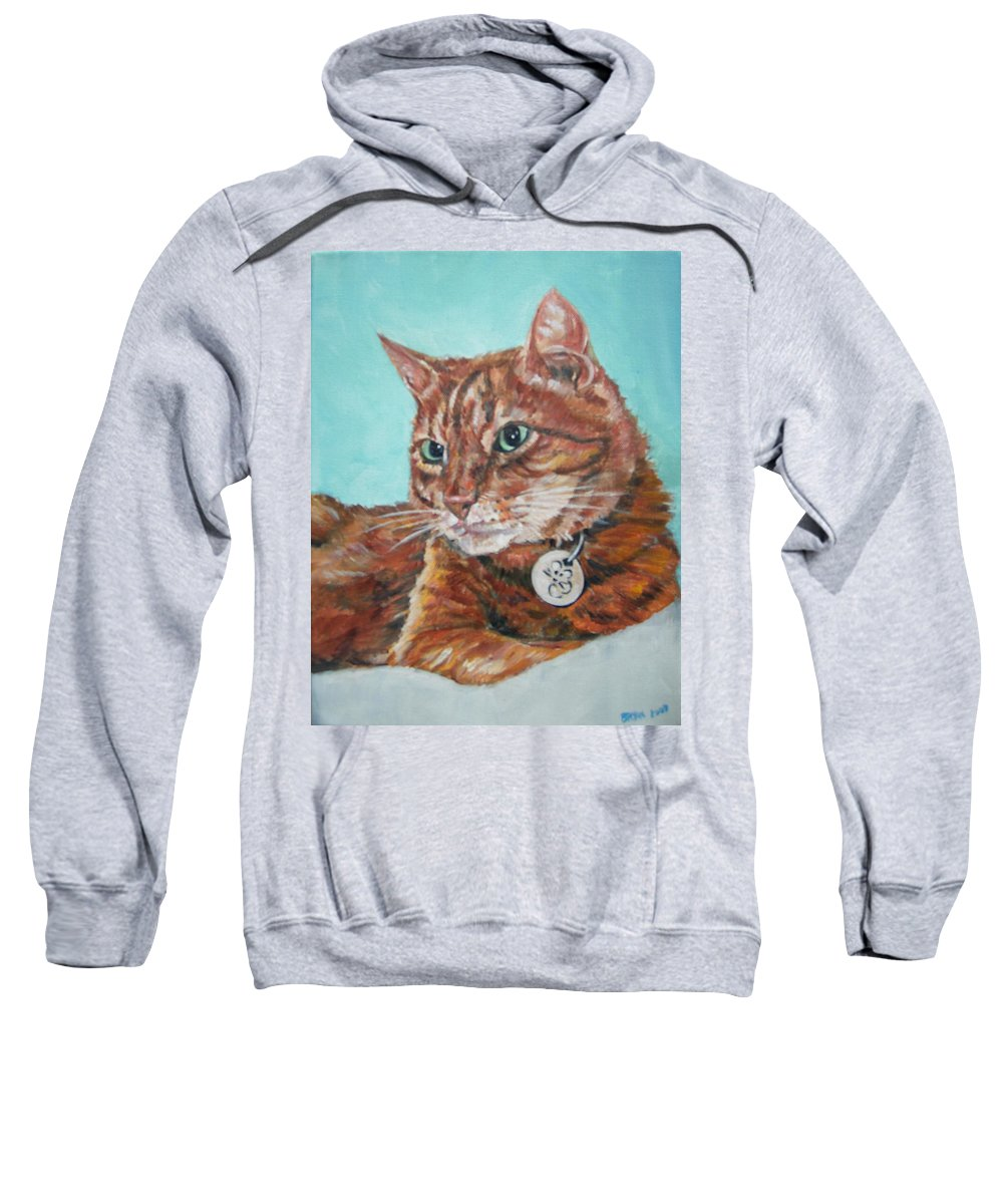 Cat Sweatshirt featuring the painting Oscar by Bryan Bustard