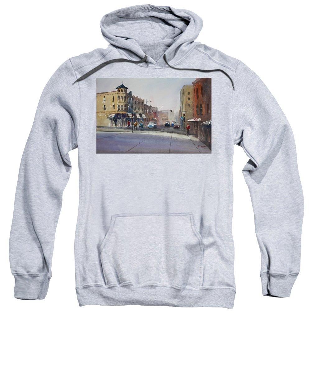 Street Scene Sweatshirt featuring the painting Oshkosh - Main Street by Ryan Radke