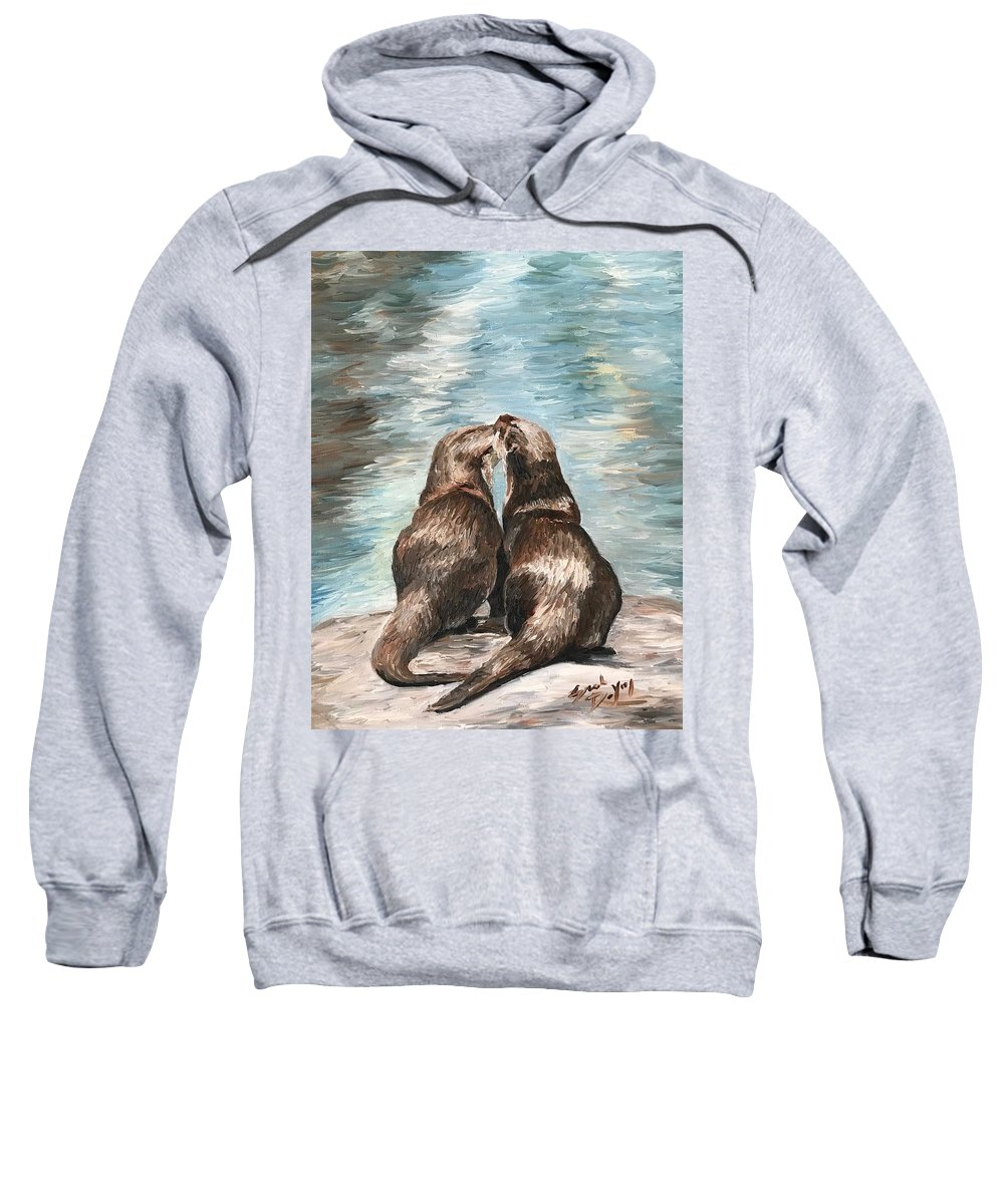 Otters Sweatshirt featuring the painting Otter Buddies by Sarah DeYong