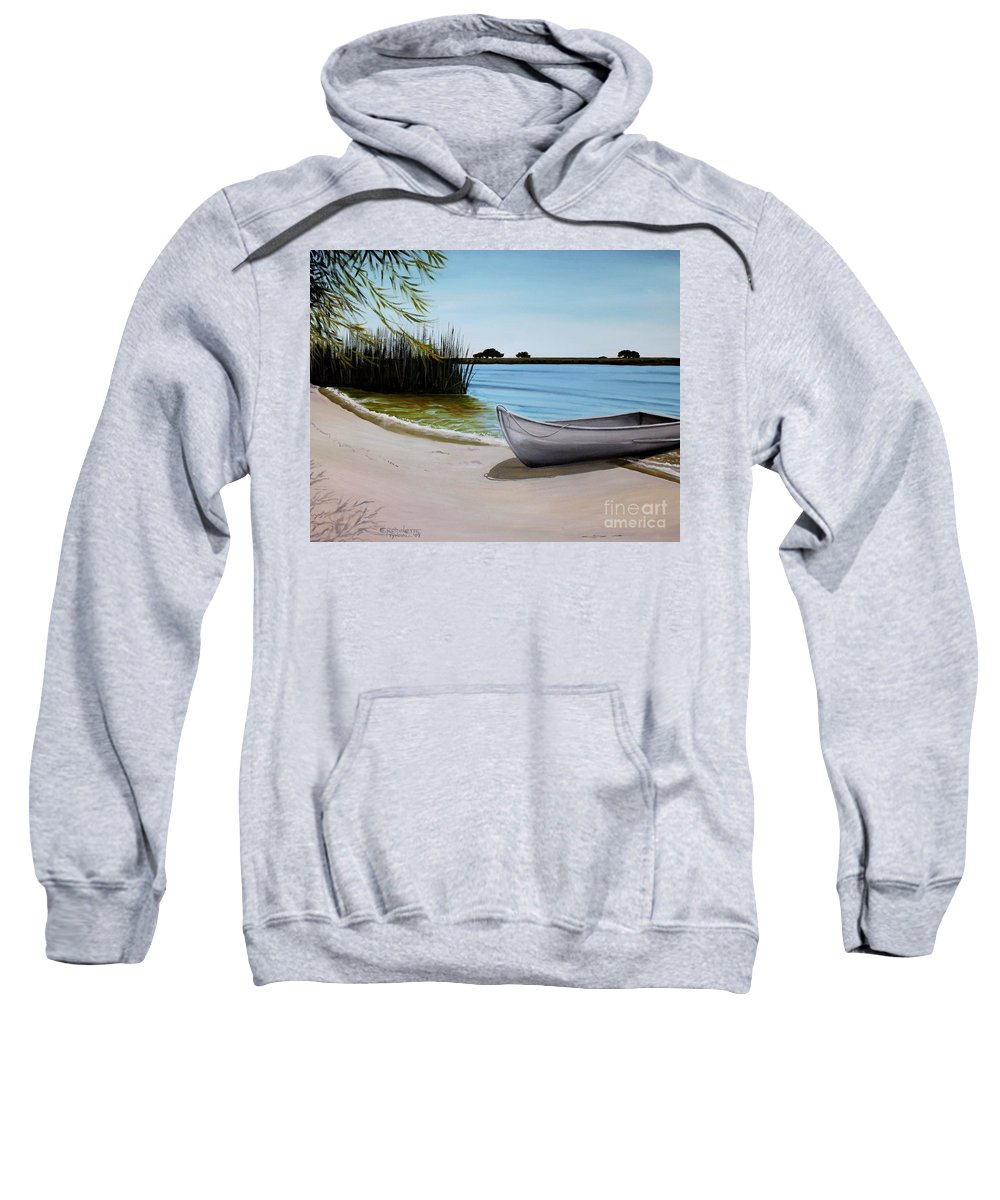 Landscape Sweatshirt featuring the painting Our Beach by Elizabeth Robinette Tyndall