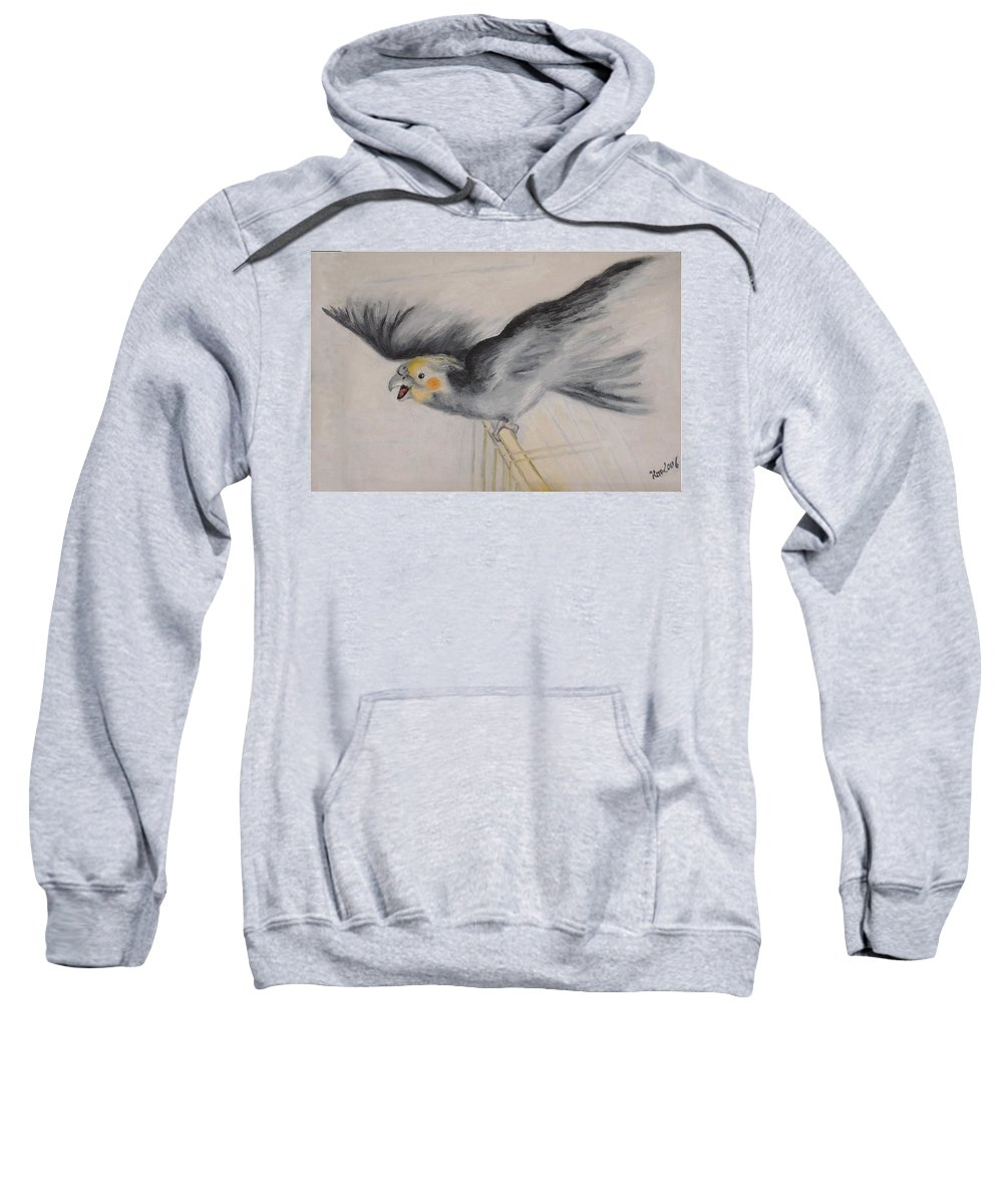 Cockatiel.pet Sweatshirt featuring the painting our cockatiel Coco by Helmut Rottler