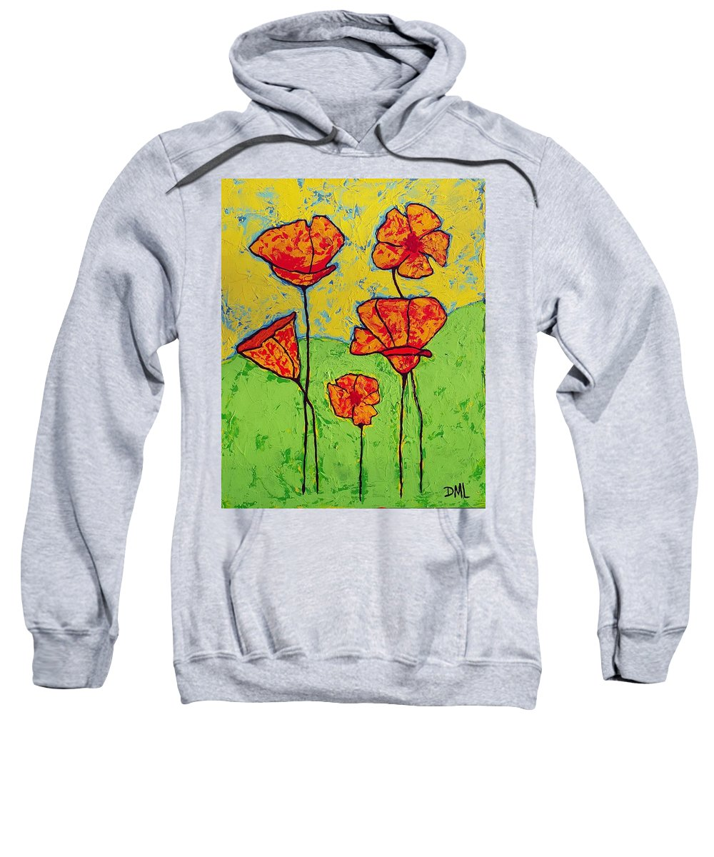 Poppies Sweatshirt featuring the painting Our Golden Poppies by Donna Marie Art