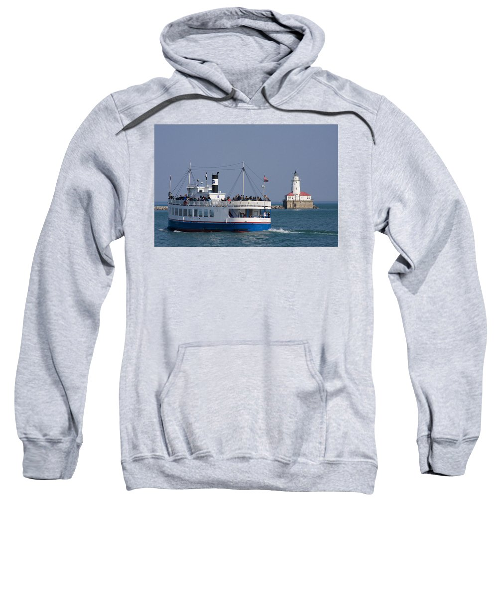 Boat Tour Tourism Tourist Attraction Chicago Windy City Ride Lighthouse Lake Michigan Water Sky Wake Sweatshirt featuring the photograph Out For A Ride by Andrei Shliakhau