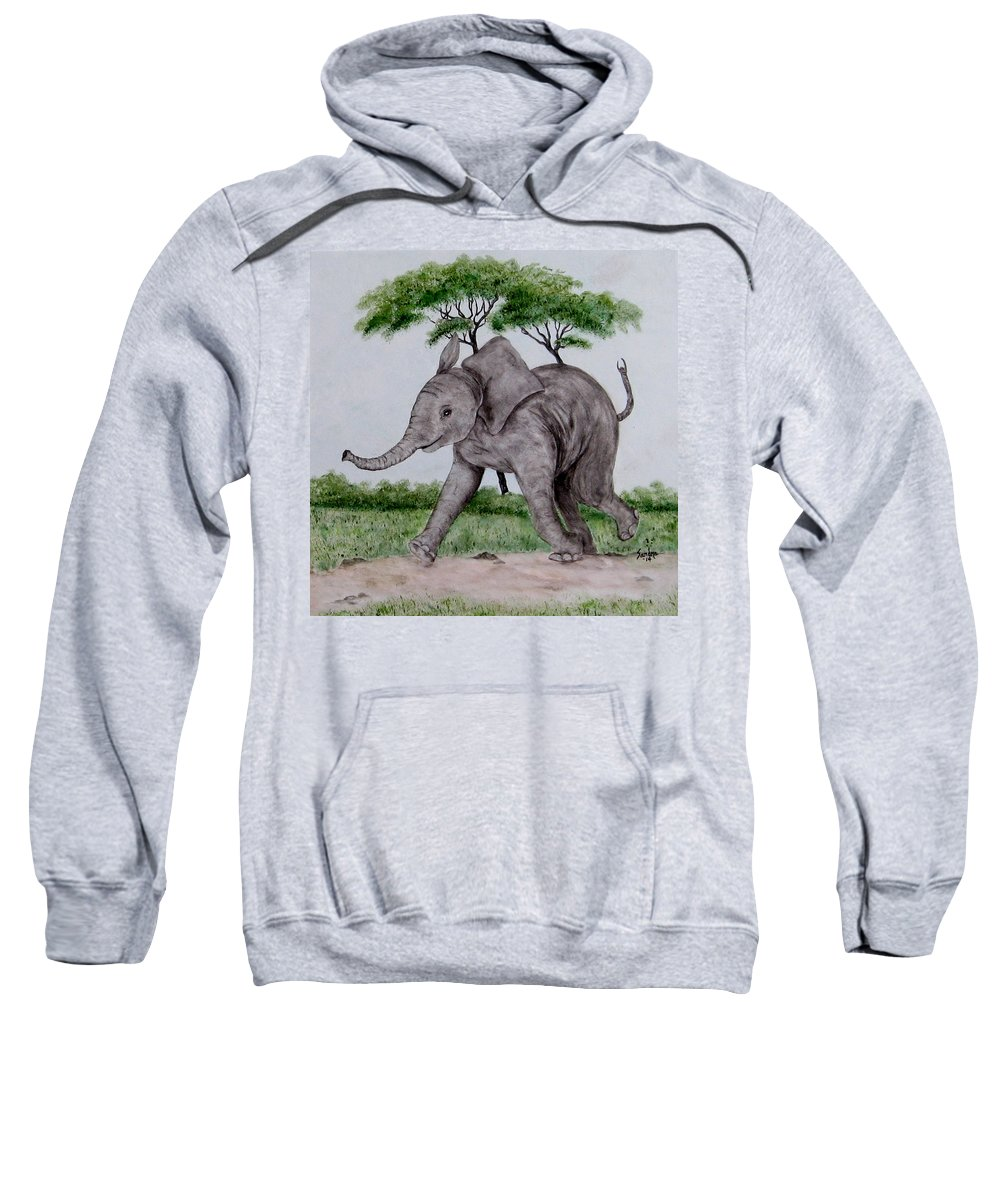 Elephant Sweatshirt featuring the painting Out For A Walk by Sandra Maddox