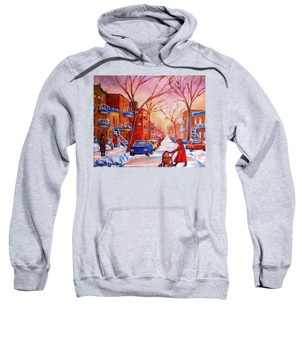 Montreal Sweatshirt featuring the painting Out For A Walk With Mom by Carole Spandau