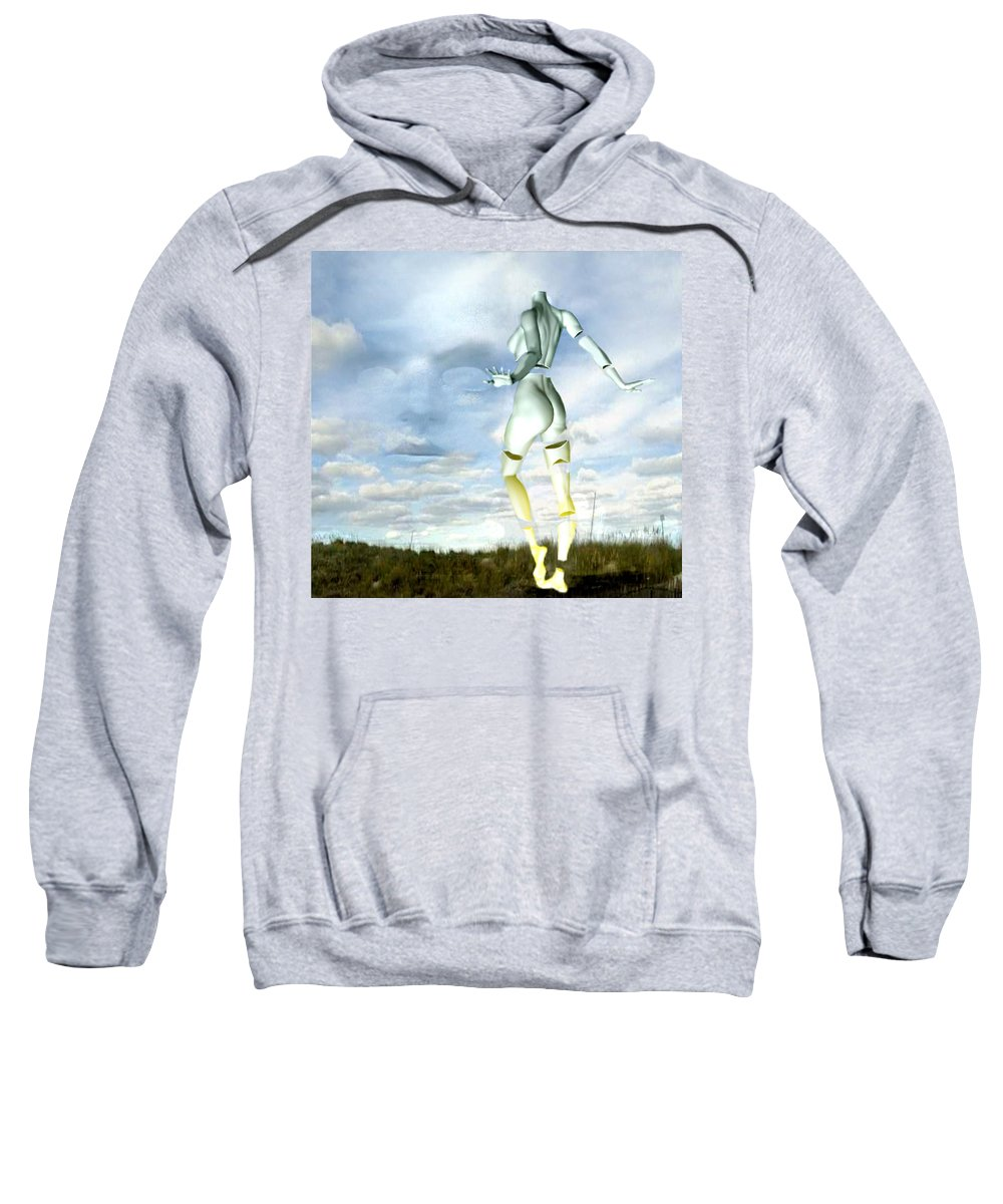 Sky Naked Woman Surreal Dance Sweatshirt featuring the digital art Out Of My Mind... by Veronica Jackson