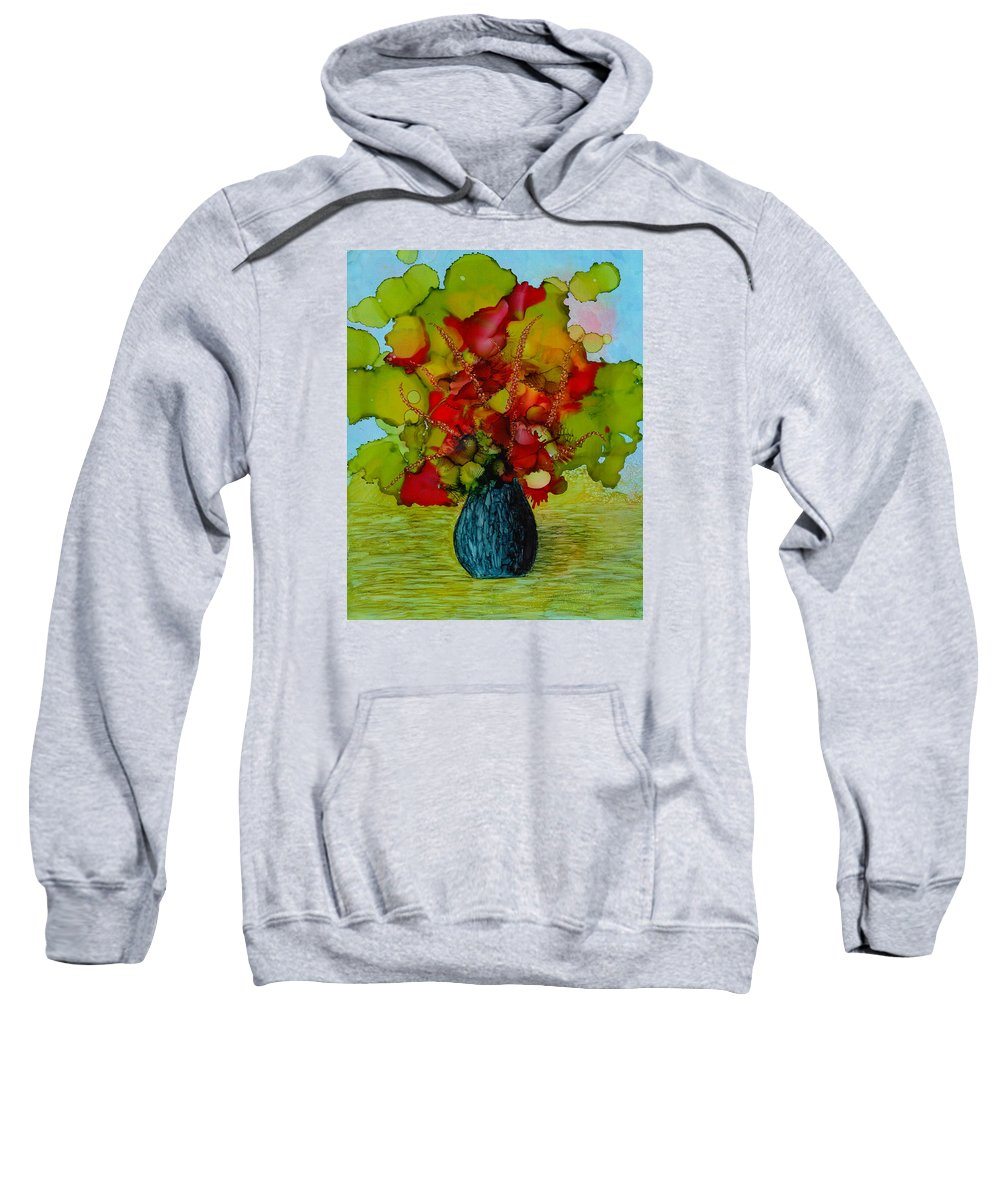 Flowers Sweatshirt featuring the painting Out Of The Blue by Laurie Williams