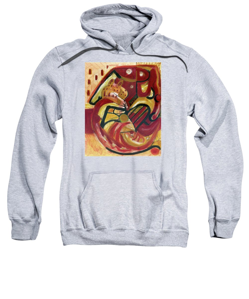 Wall Art Original Abstract Paintings Sweatshirt featuring the painting The Cat by Stephen Lucas