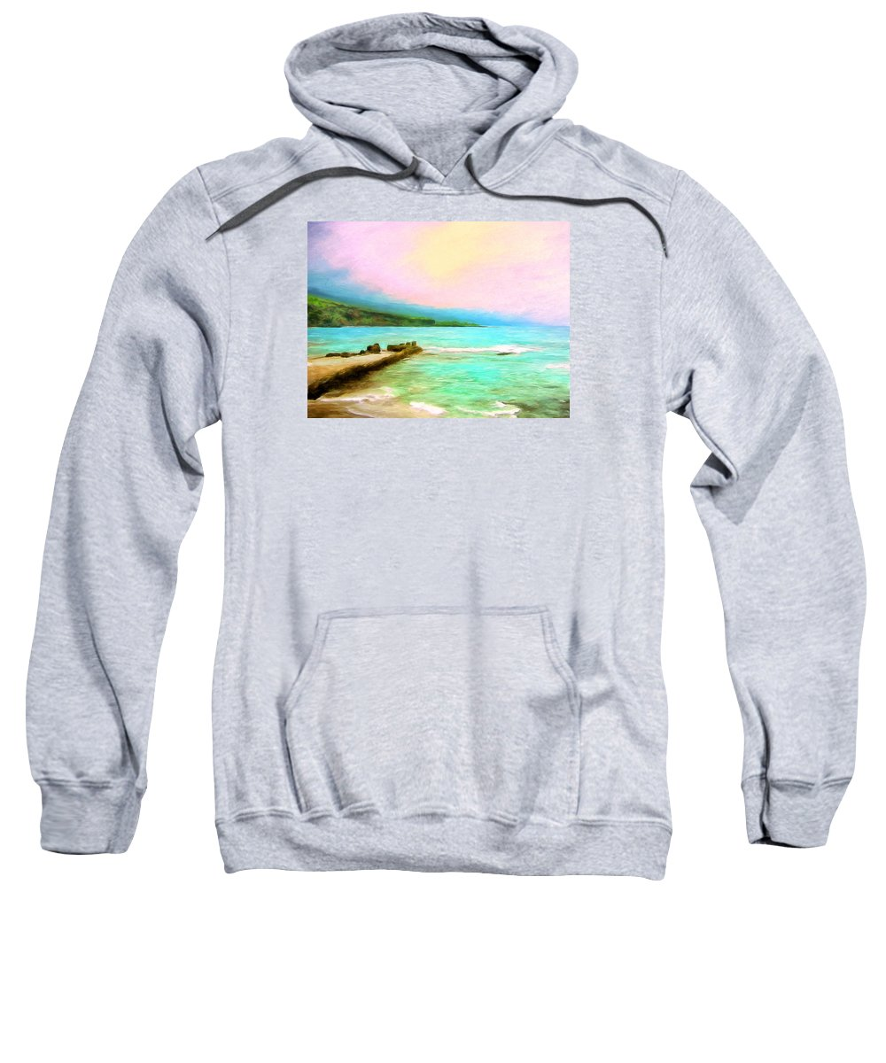 Napoopoo Beach Park Sweatshirt featuring the painting Overcast Sunset At Napoopoo Beach Park by Dominic Piperata