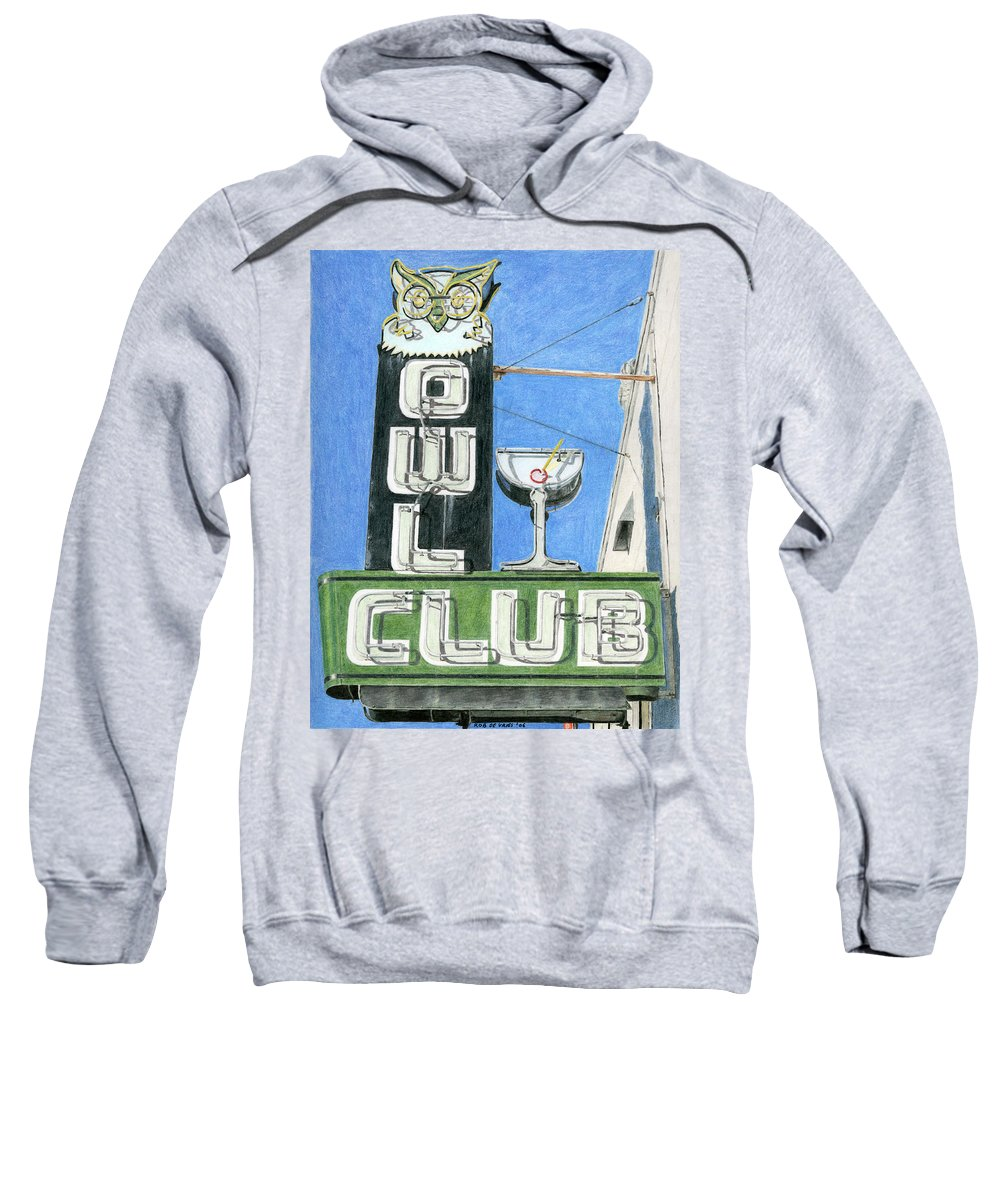 Neon Sign Sweatshirt featuring the drawing Owl Club by Rob De Vries