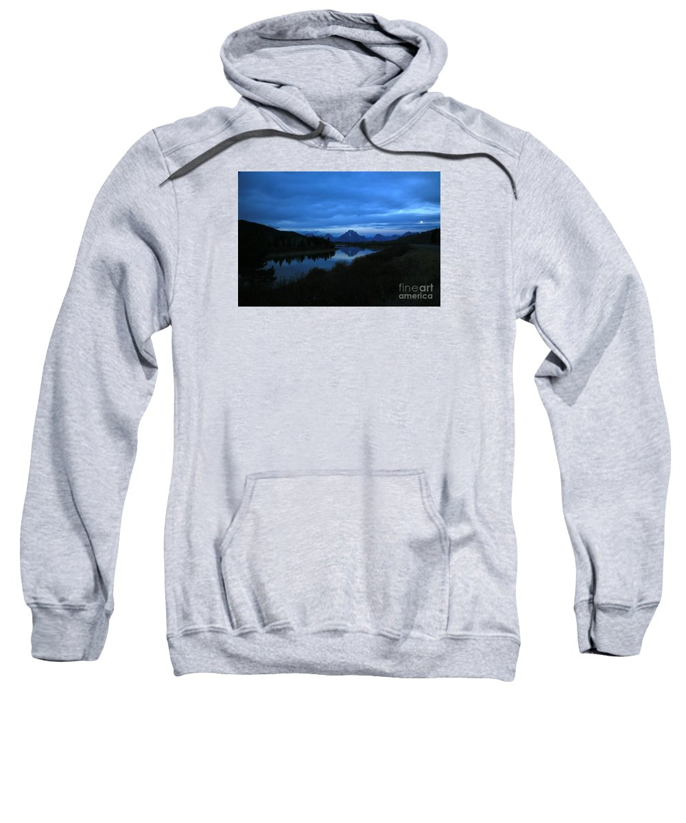 Oxbow Sweatshirt featuring the photograph Oxbow Moon by Timothy Johnson