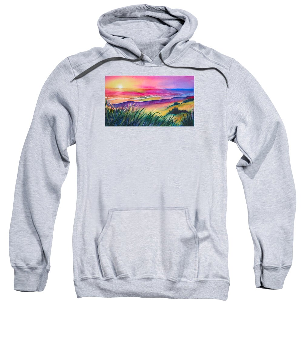 Pacific Sweatshirt featuring the painting Pacific Evening by Karen Stark