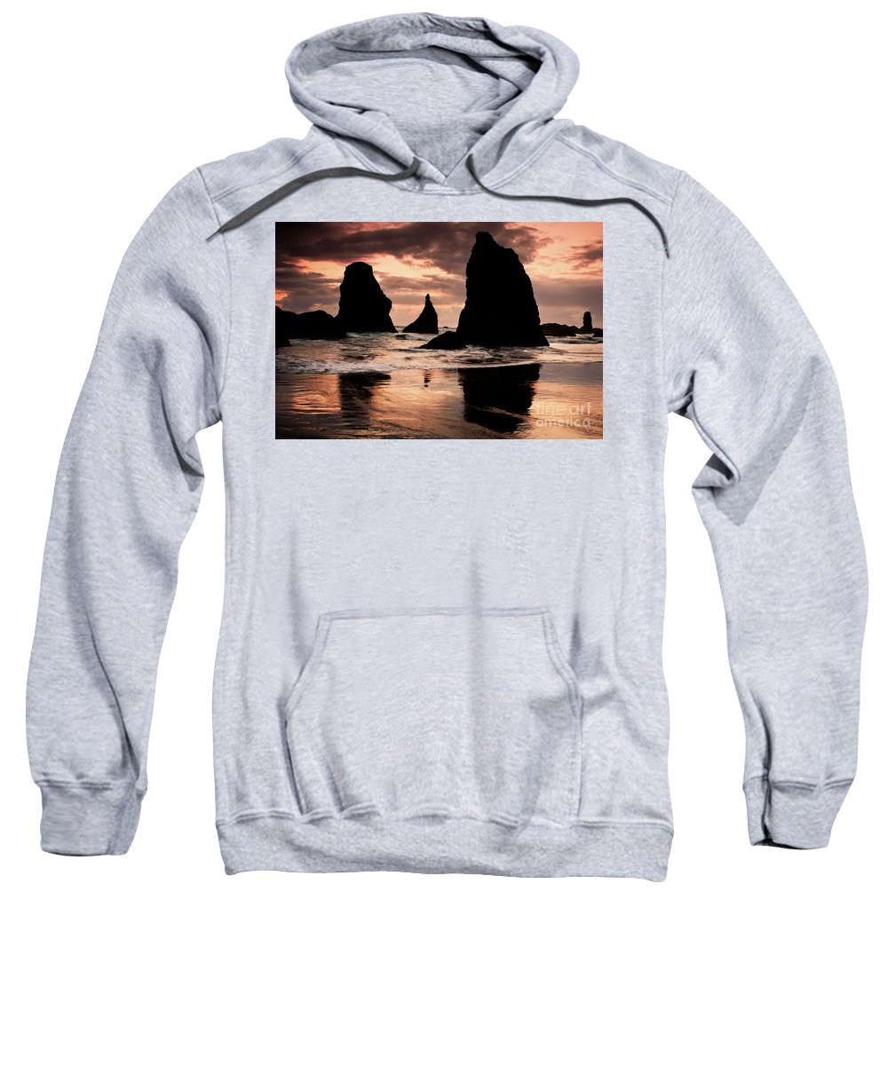 America Sweatshirt featuring the photograph Pacific Pillars by Jeff Diener