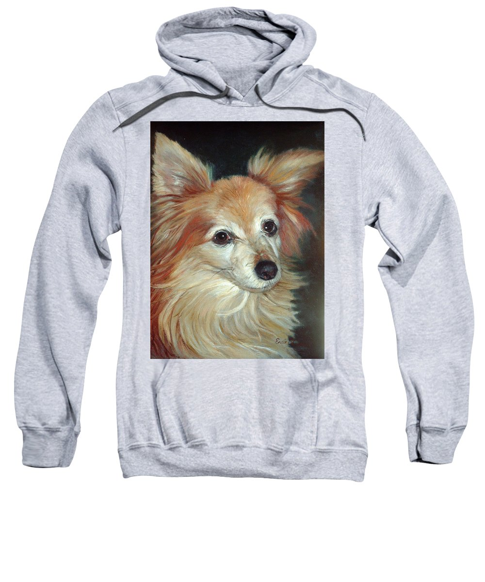Pet Portraits Sweatshirt featuring the painting Paco The Papillion by Portraits By NC