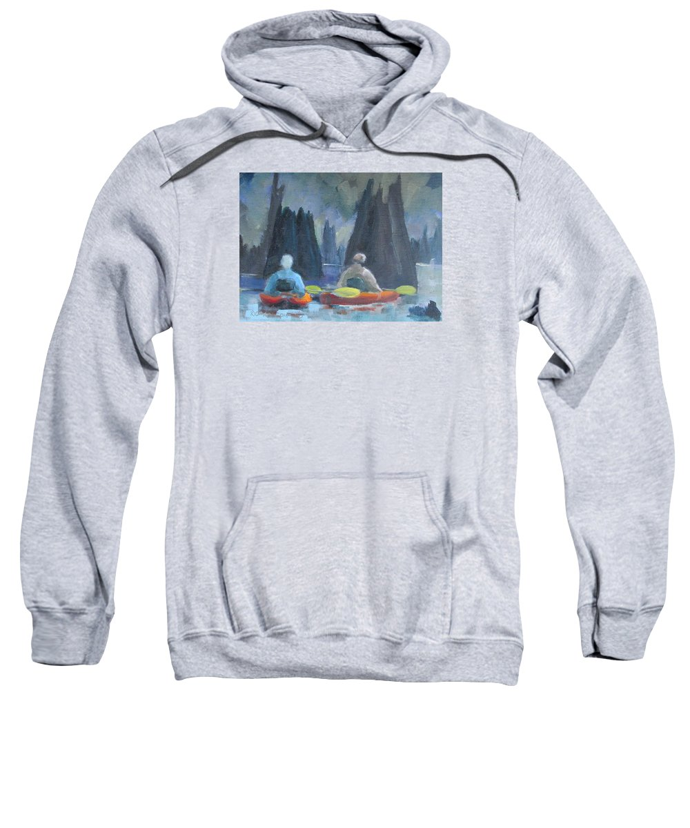 Kayak Sweatshirt featuring the painting Paddling Dead Lakes 2 by Susan Richardson