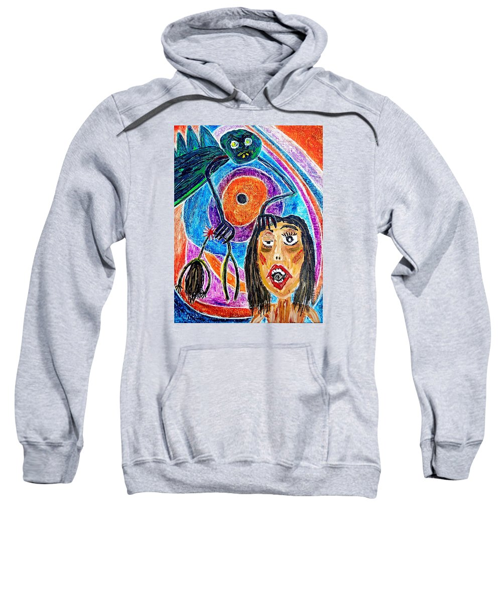Pain Sweatshirt featuring the painting Pain Monster by Gwen Curry