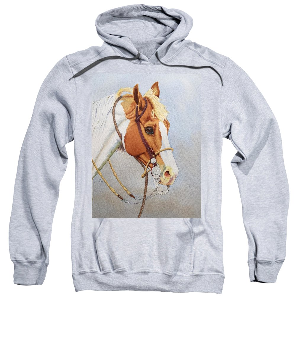 Horse Sweatshirt featuring the painting Paint Me A Cowpony by Valerie Coe