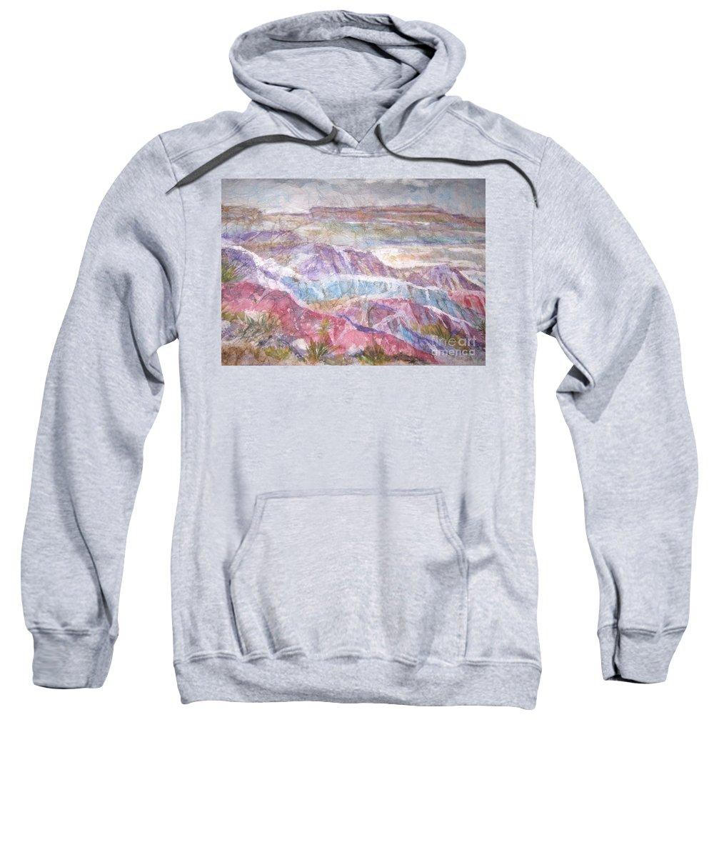 Painted Desert Sweatshirt featuring the painting Painted Desert by Ellen Levinson
