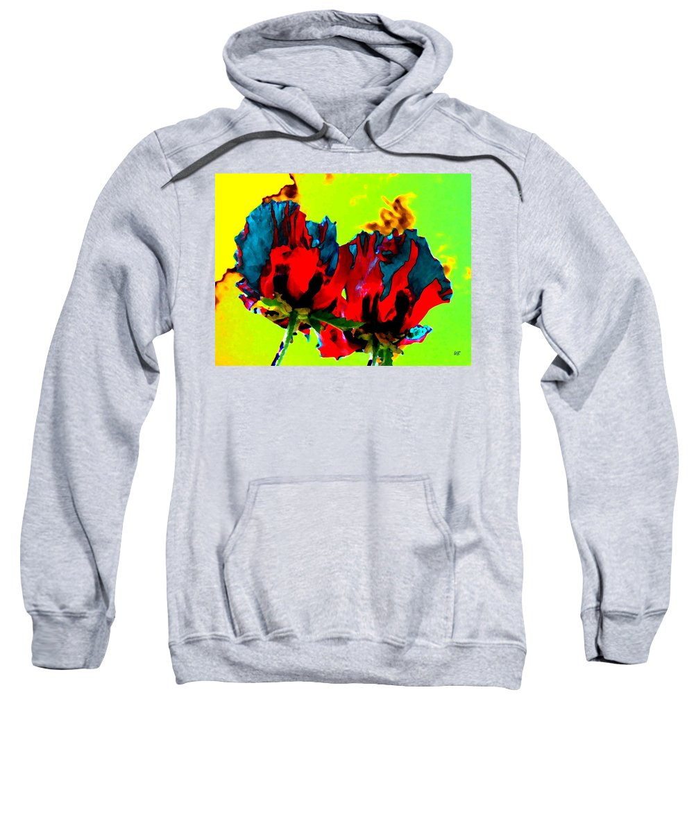 Poppies Sweatshirt featuring the digital art Painted Poppies by Will Borden