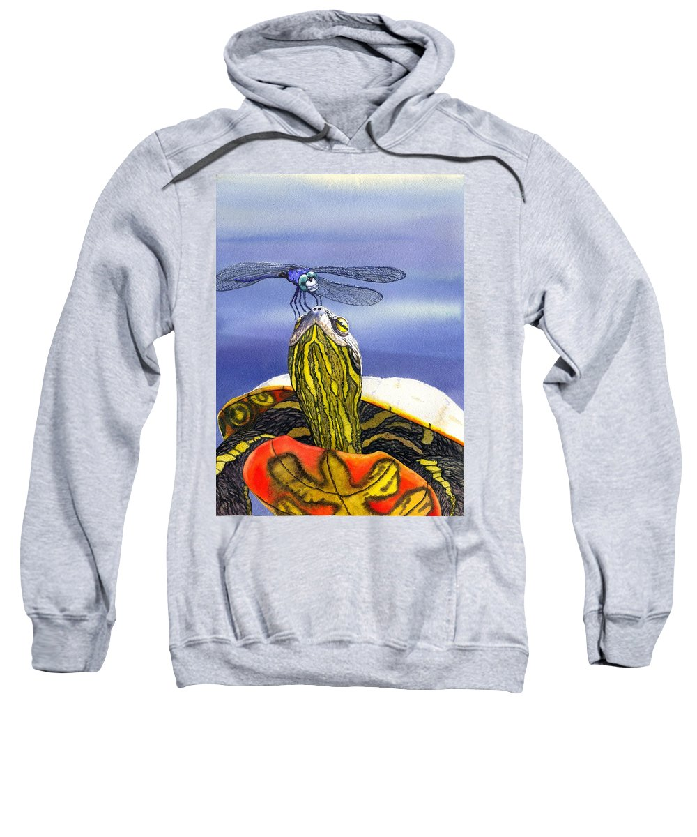 Turtle Sweatshirt featuring the painting Painted Turtle And Dragonfly by Catherine G McElroy