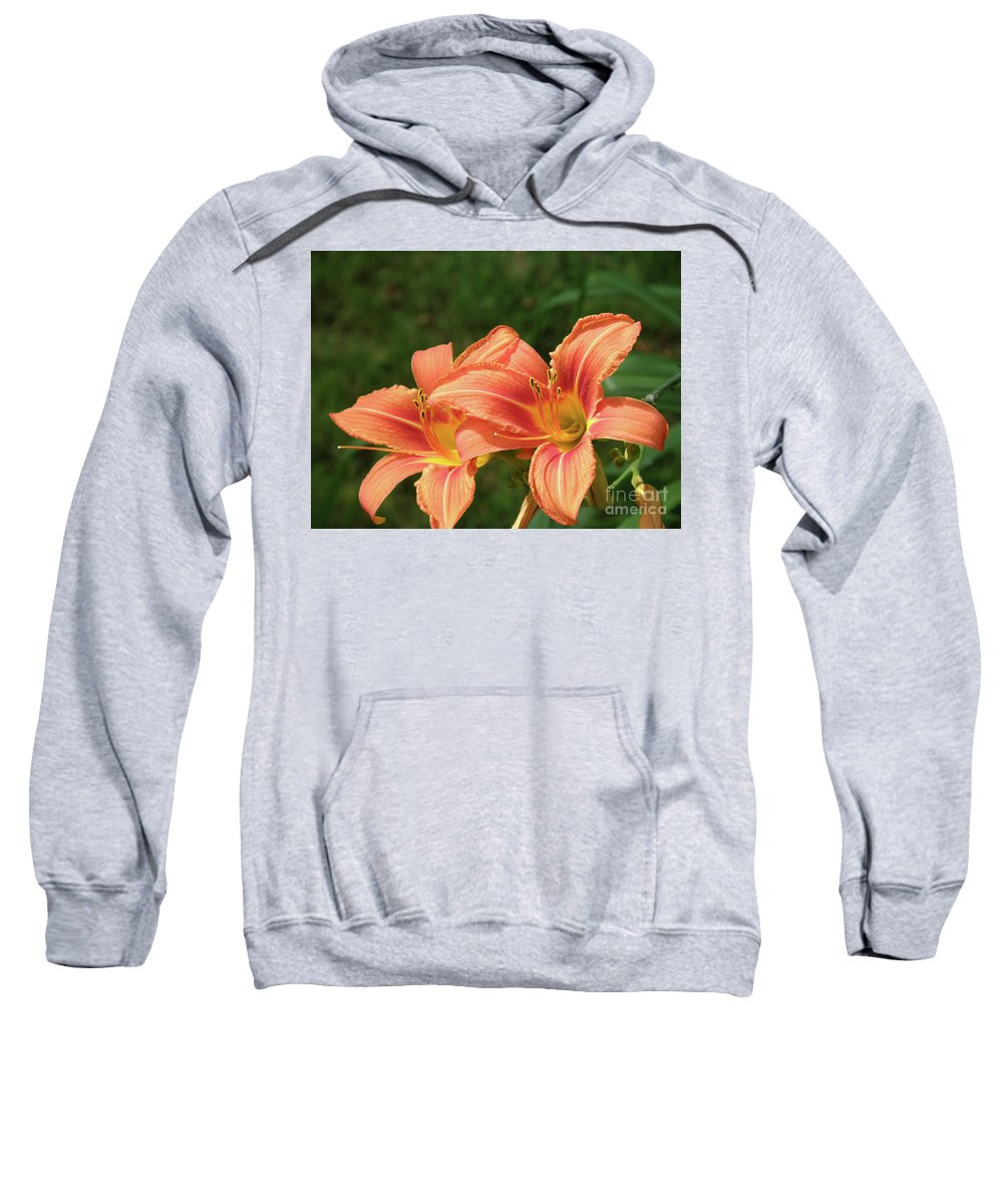 Lily Sweatshirt featuring the photograph Pair Of Blooming Orange Lilies In A Garden by DejaVu Designs