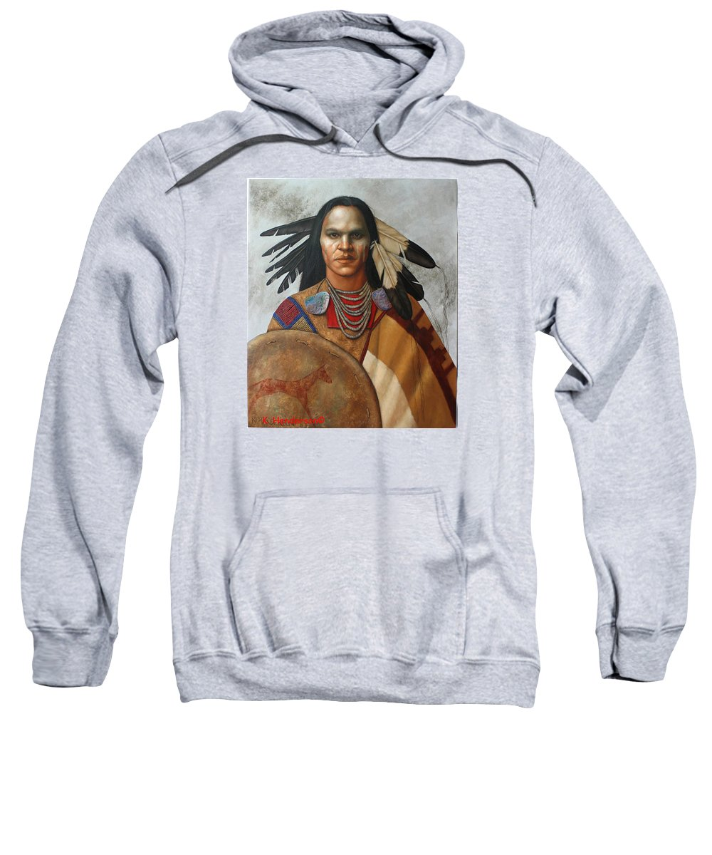 American Indian Sweatshirt featuring the painting Pale Rider By K Henderson by K Henderson