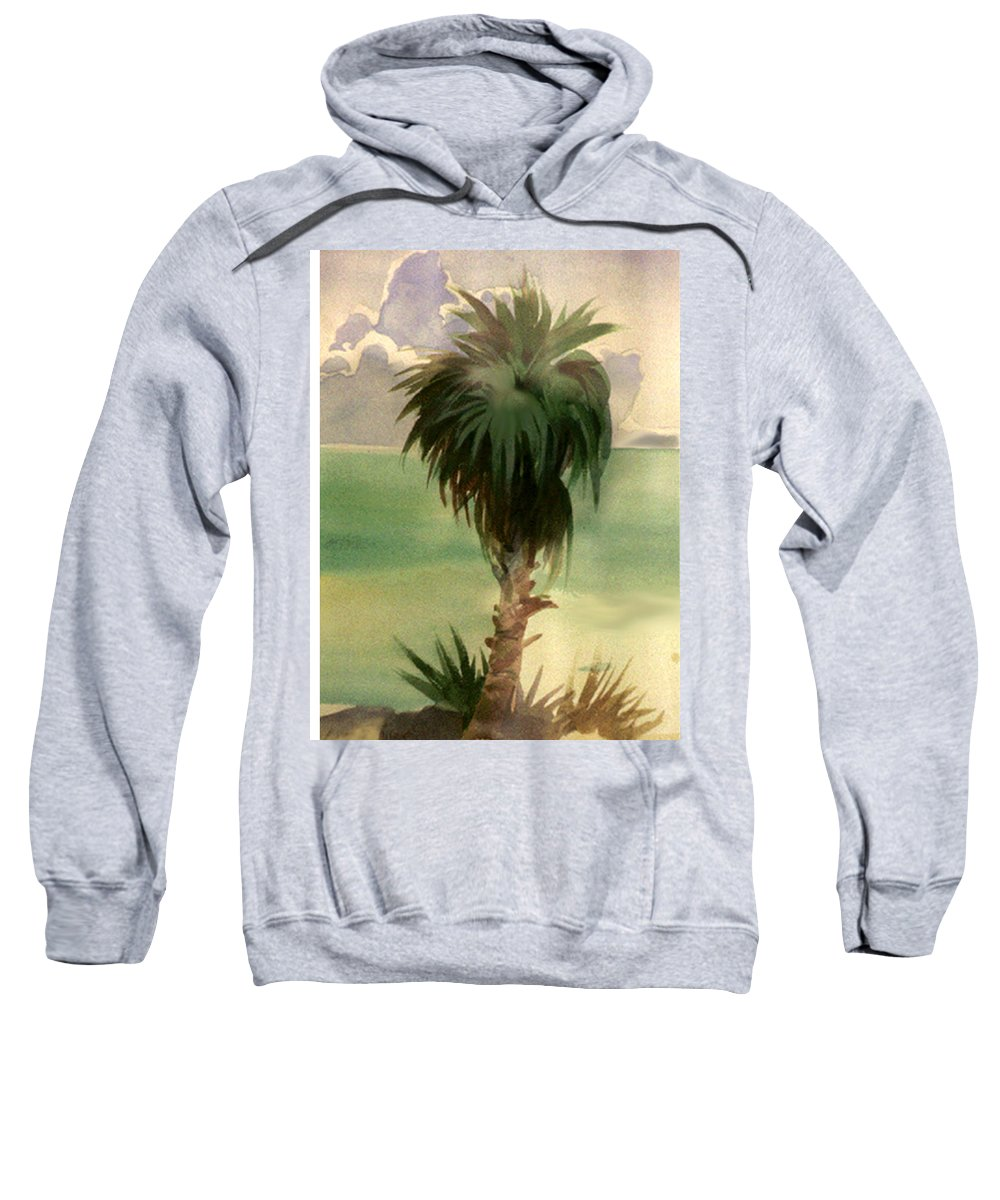 Palm Sweatshirt featuring the painting Palm At Horseshoe Cove by Neal Smith-Willow