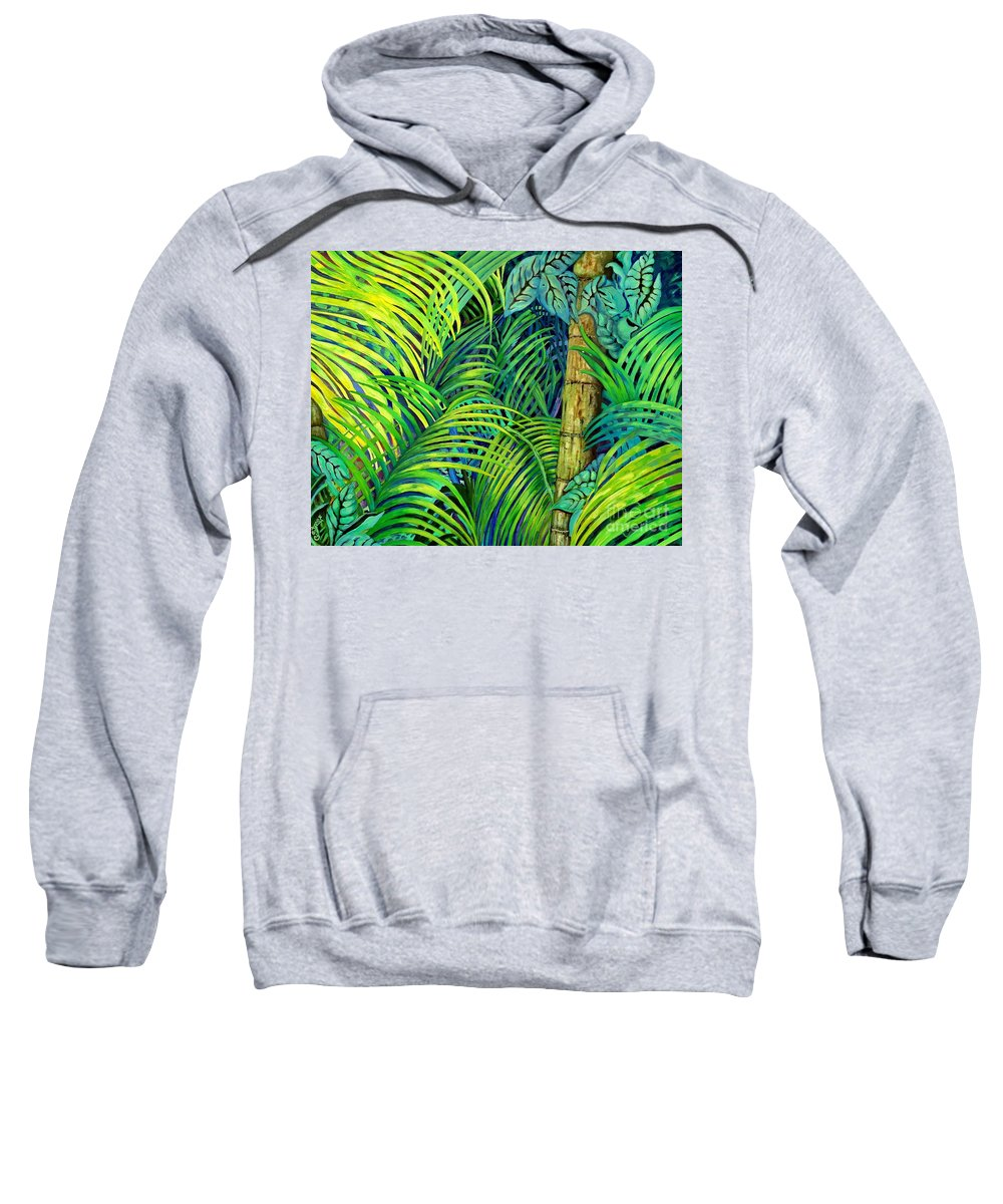 Trees Sweatshirt featuring the painting Palm Leaves by Caroline Street