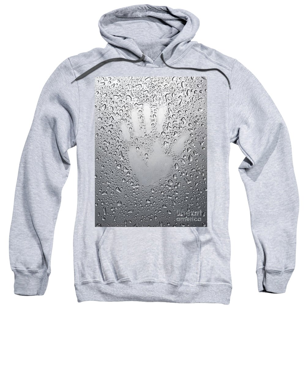 Palm Sweatshirt featuring the photograph Palm Print On Wet Metal Surface by Oleksiy Maksymenko