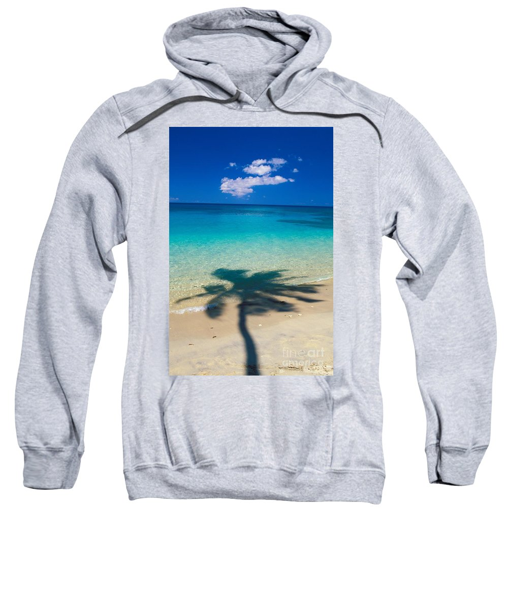 Aqua Sweatshirt featuring the photograph Palm Shadows by Ron Dahlquist - Printscapes