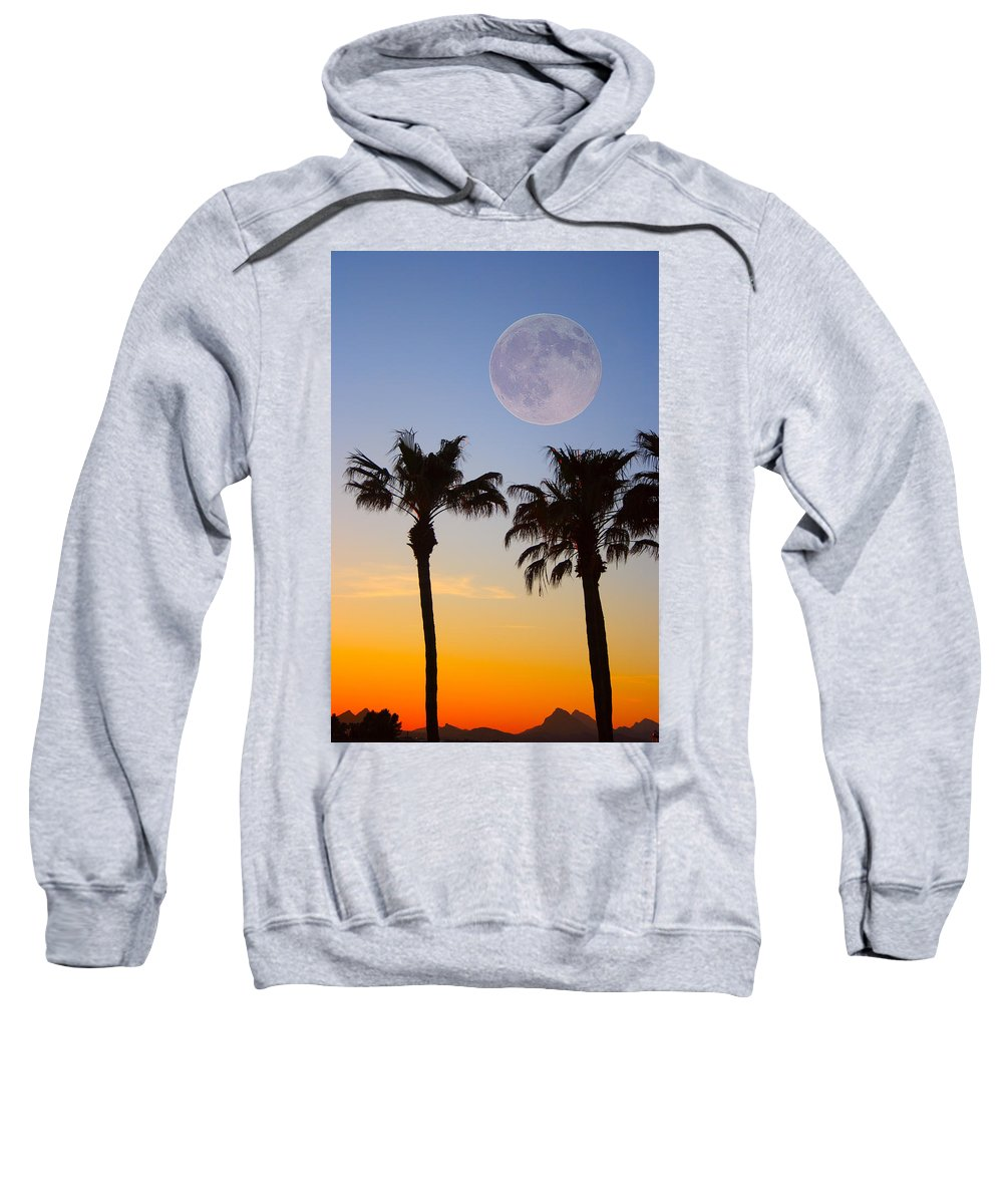 Palm Sweatshirt featuring the photograph Palm Tree Full Moon Sunset by James BO Insogna