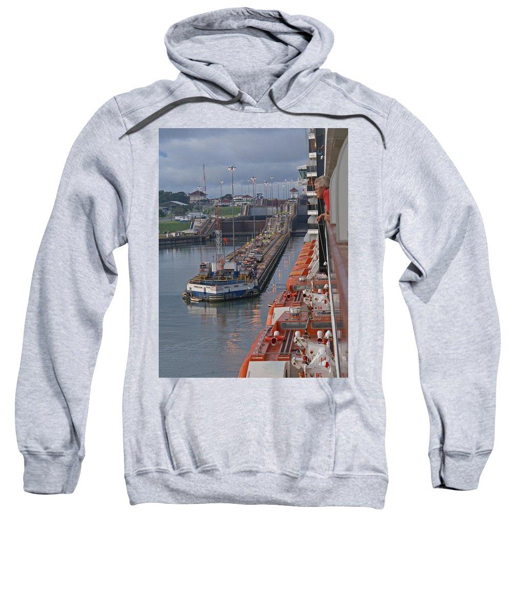Panama Sweatshirt featuring the digital art Panama Canal by Heather Coen