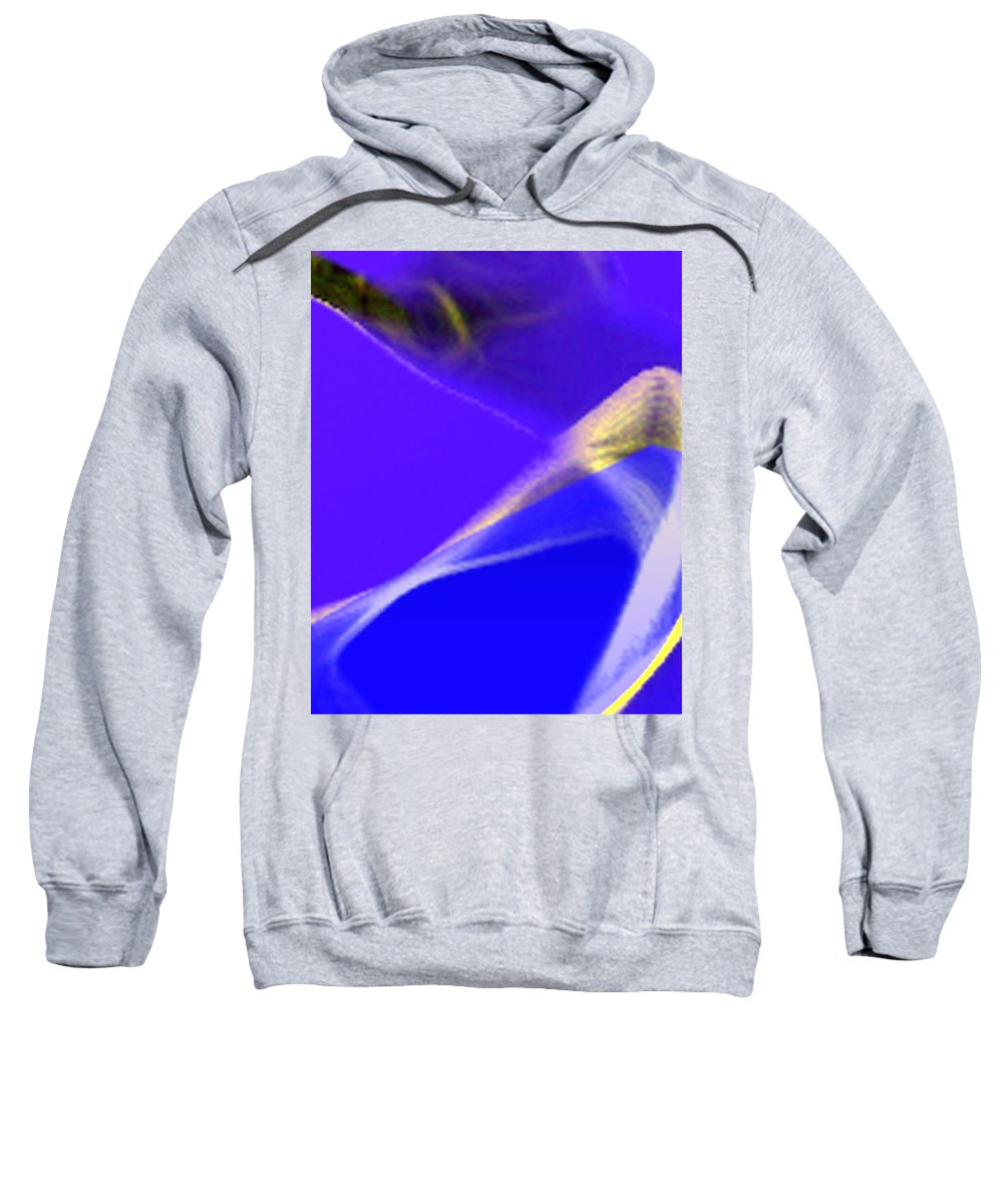 Abstract Sweatshirt featuring the digital art panel three from Movement in Blue by Steve Karol