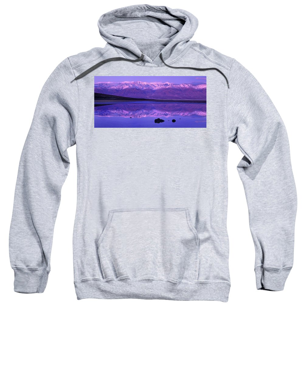 North America Sweatshirt featuring the photograph Panorama Badwater And The Panamint Range At Sunrise Death Valley by Dave Welling