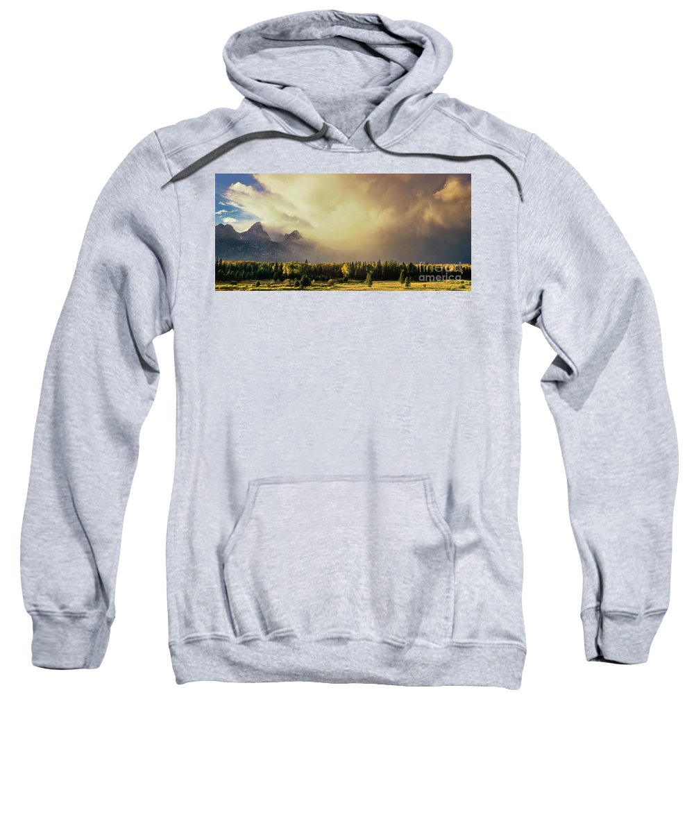 North America Sweatshirt featuring the photograph Panorama Clearing Storm Over The Grand Tetons by Dave Welling