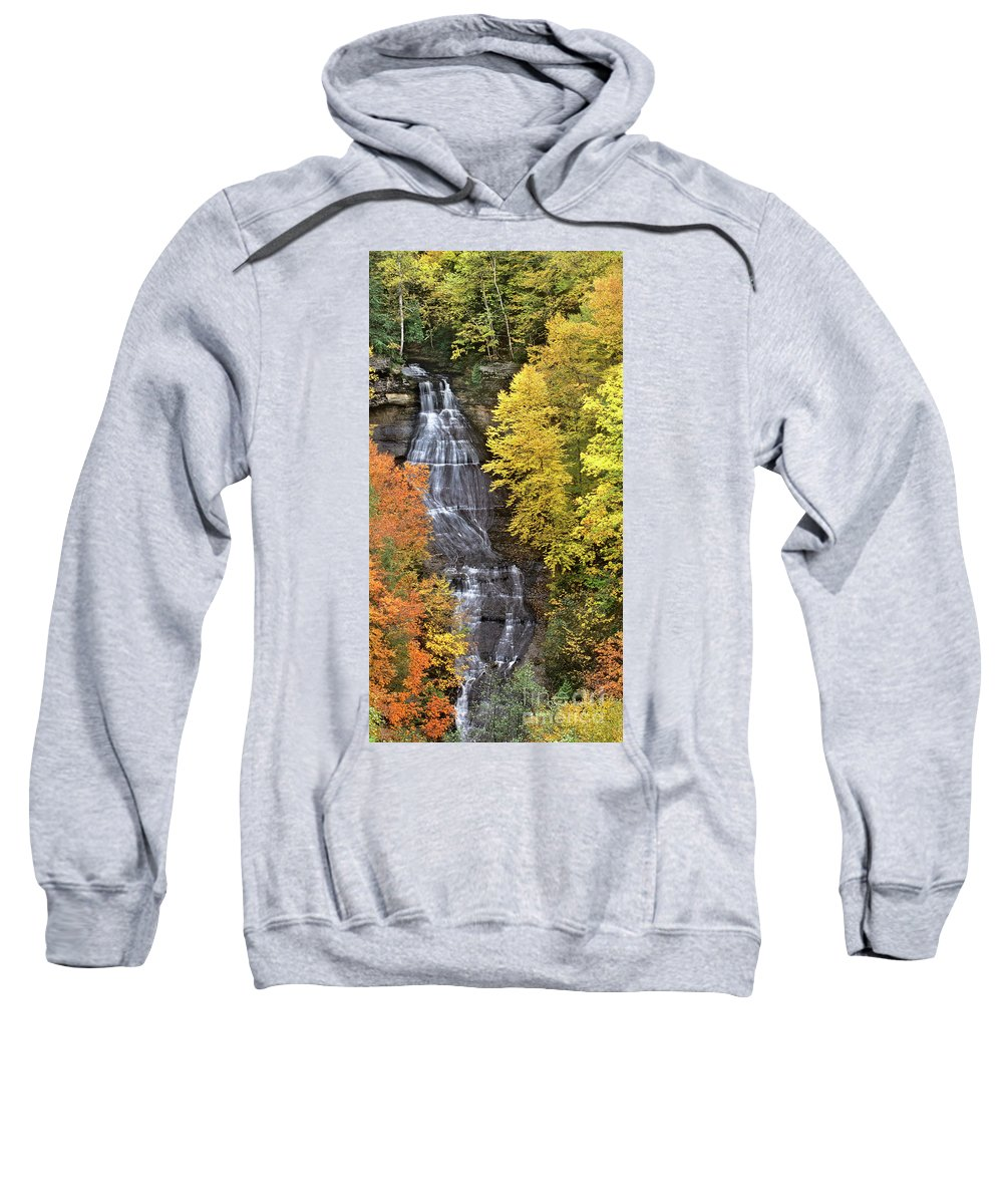 North America Landscape Sweatshirt featuring the photograph Panorama Fall Color Chapel Falls Upper Penninsula Mi by Dave Welling