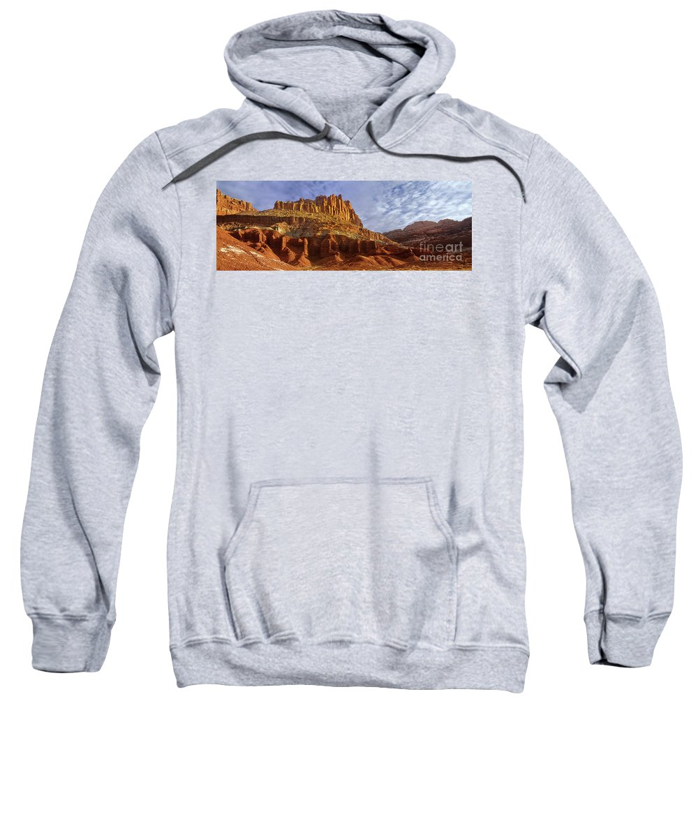 North America Sweatshirt featuring the photograph Panorama The Castle On A Cloudy Morning Capitol Reef National Park by Dave Welling