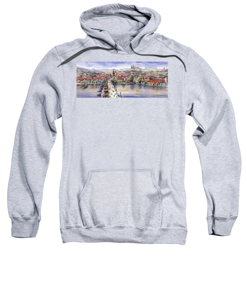 Watercolour Sweatshirt featuring the painting Panorama With Vltava River Charles Bridge And Prague Castle St Vit by Yuriy Shevchuk